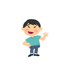 Cartoon character asian boy in approval attitude vector