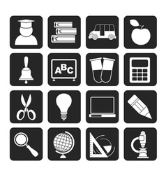 Silhouette education and school icons vector image