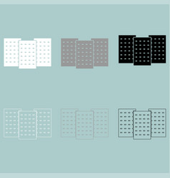 three building white grey black colour icon vector image vector image