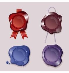 Wax seals set in cartoon style vector image
