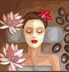 woman getting spa treatment moisturizing mask vector image