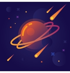 bright planet in space vector image vector image