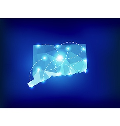 Connecticut state map polygonal with spot lights vector image