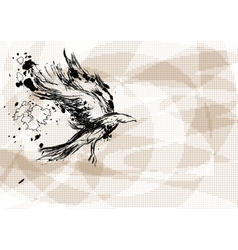 crow on abstract background vector image vector image
