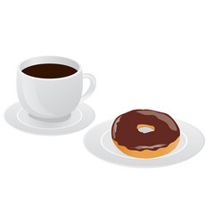 cup coffee donut vector image vector image