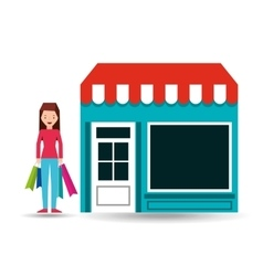 girl standing store shopping gift buying vector image