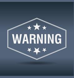 Warning hexagonal white vintage retro style label vector