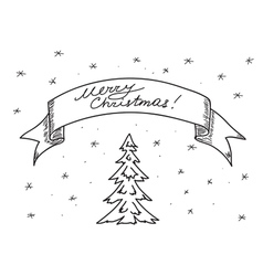 card - merry christmas - hand drawing vector image