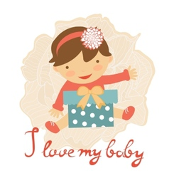Cute baby with gift box vector image vector image