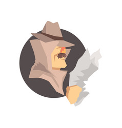 disguised detective character wearing classic vector image vector image