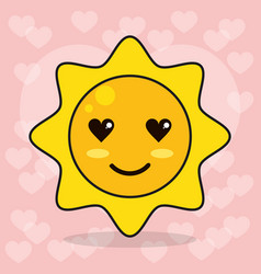 emoticon sun love eyes vector image