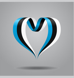 estonian flag heart-shaped ribbon vector image vector image