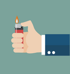 hand holding lighter vector image vector image