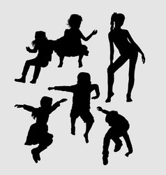 male and female happy playing silhouette vector image vector image