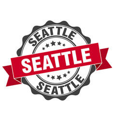 seattle round ribbon seal vector image vector image