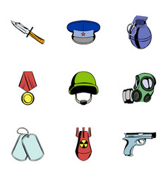 wartime icons set cartoon style vector image vector image