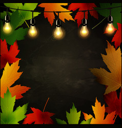 frame of autumn leaves painted on black chalkboard vector image vector image