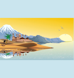 landscape - the arab fortress on the coast vector image vector image