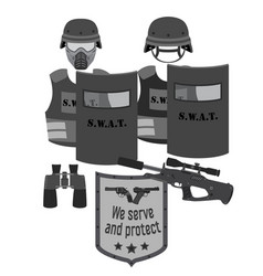 serve and protect swat and police flat style vector image
