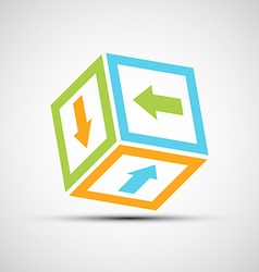 Vektor icon cube with colored arrows vector