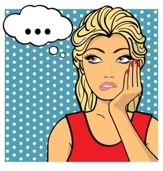 Young woman lady shows dreaminess muse Comic vector image
