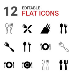 12 cutlery icons vector image