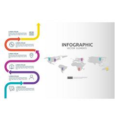 6 steps business infographic timeline design vector image