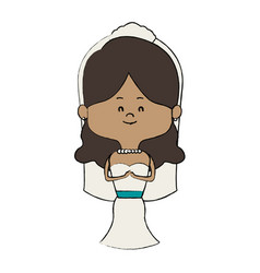 adorable woman bride lovely marriage character vector image