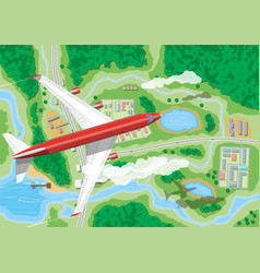 Airplane flies above land vector