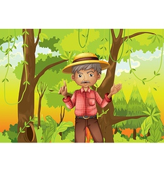 An old man standing in the middle of the forest vector