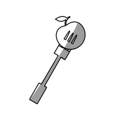 Apple with fork picnic shadow vector