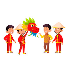 Asian boy kindergarten kid poses set vector