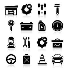 Auto Service Black White Icons Set vector image