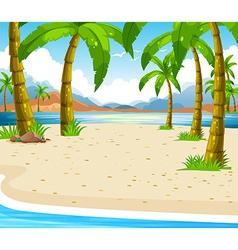 Beach scene with coconut trees vector