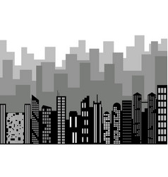 Black random city skyline cityscape on white vector