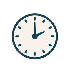 Blue clock icon flat linear time sign vector