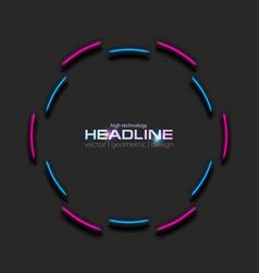 bright neon blue purple circle frame tech vector image