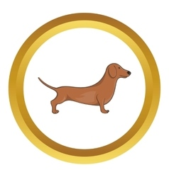 Brown dachshund dog icon vector image