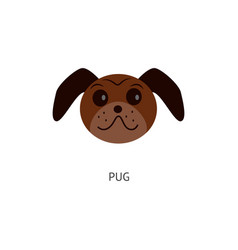 brown pug head isolated on white background - flat vector image