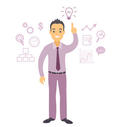 Business man character pointing at light bulb vector