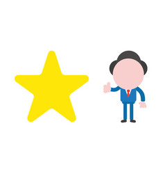 businessman with star and giving thumbs up vector image