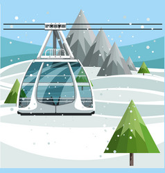 cableway with empty ski lift cable on mountains vector image