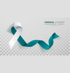 Cervical cancer awareness month teal and white vector