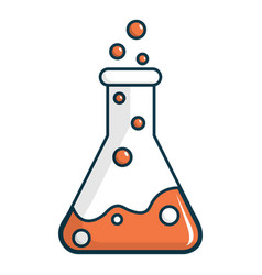 Chemical laboratory transparent flask icon vector