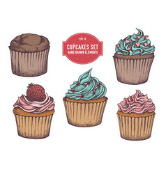 collection hand drawn cupcakes vector image