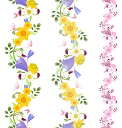 collection vertical seamless borders with crocus vector image