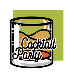 Color vintage coctail party emblem vector