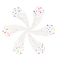 Confetti stars rotation flower with six petals vector