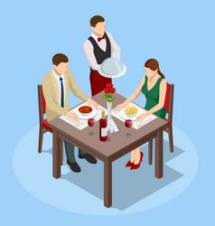 dinner in restaurant young couple having dinner vector image
