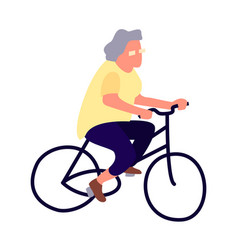 Elderly woman on a bicycle activity of the vector